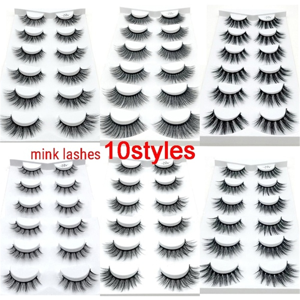 10 par/set 3D pestañas postizas de pelo de visón para mujer 3D Handmad Natural/pestañas largas gruesas para la belleza del maquillaje