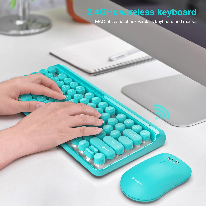 Juego de teclado y ratón inalámbricos de 2,4G para ordenador portátil, PC, TV, oficina, Mini teclado, conjunto de ratón, llave redonda, teclado steampunk
