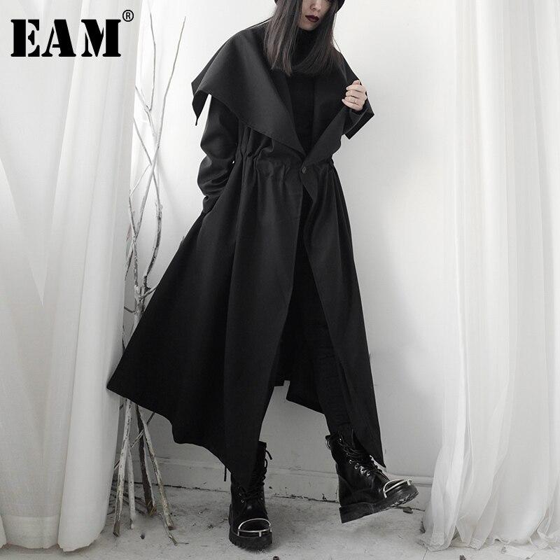 [EAM] gabardina larga negra asimétrica para mujer, gabardina larga, solapa nueva, manga larga, holgada, cortavientos, moda, primavera 2020 1S243