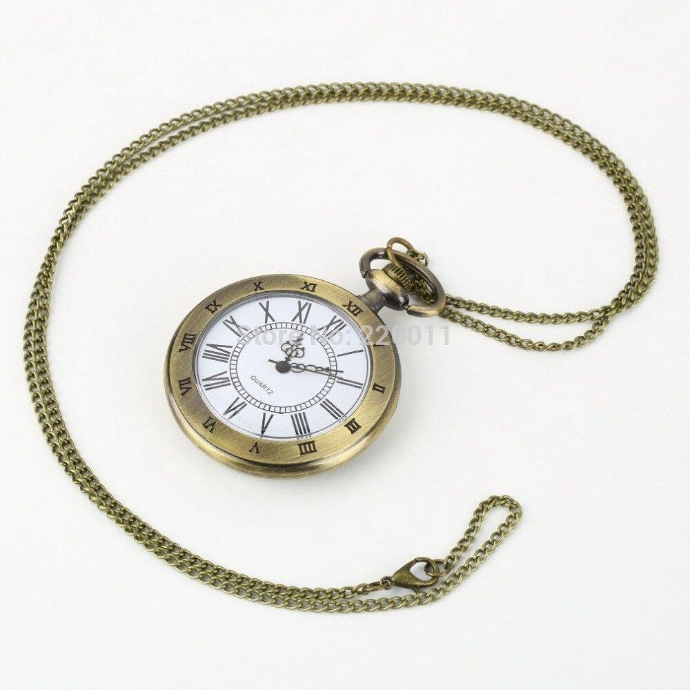 Roman Pocket WatchVintage Hollow Bronze Gear Hollow Quartz Pocket Watch Necklace Pendant Clock Chain