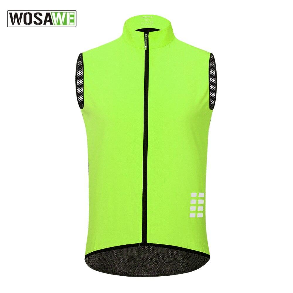 Wosawe ciclismo jaqueta reflexiva multifunções respirável correndo windbreakers de pouco peso mtb estrada bicicleta camisa colete