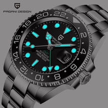 PAGANI DESIGN Men Stainless Steel Watch Sapphire Crystal Ceramic bezel GMT Automatic Mens Watches Lu