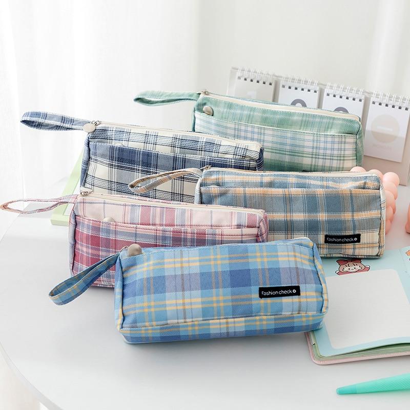 Чехол для карандашей, школьный и офисный портативный чехол большой вместимости в клетку, чехол для карандашей, тканевый чехол для канцелярс... чехол