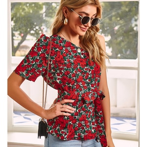 Sexy Floral Printing Sleeveless Backless Slanted Shoulder Tops Camisas Mujer  Shirts Casual Off Shoulder Red Blue Holiday Beach