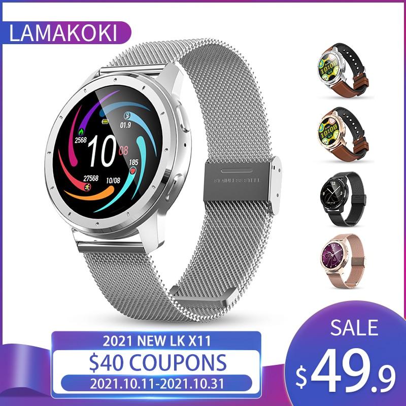 LAMAKOKI 2021 جديد LK X11 ساعة ذكية النساء MP3 مشغل موسيقى بلوتوث دعوة الصحة معدل ضربات القلب الرياضة الدم Preasure SmartWatch الرجال