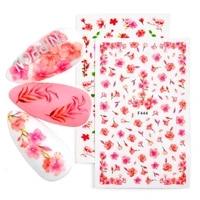 2pcset nail flower letter leaf beauty slider bloom colorful plant pattern 3d manicure sticker