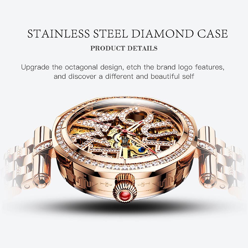 OUPINKE New Mechanical Women Watch Sapphire Fashion Switzerland Luxury  Ladies WristWatch Automatic Diamond Design montre femme enlarge