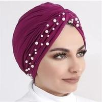 2020 new velvet turbans for women pearls turban femme musulman womens head scarf turban cap winter indian hat turbante mujer