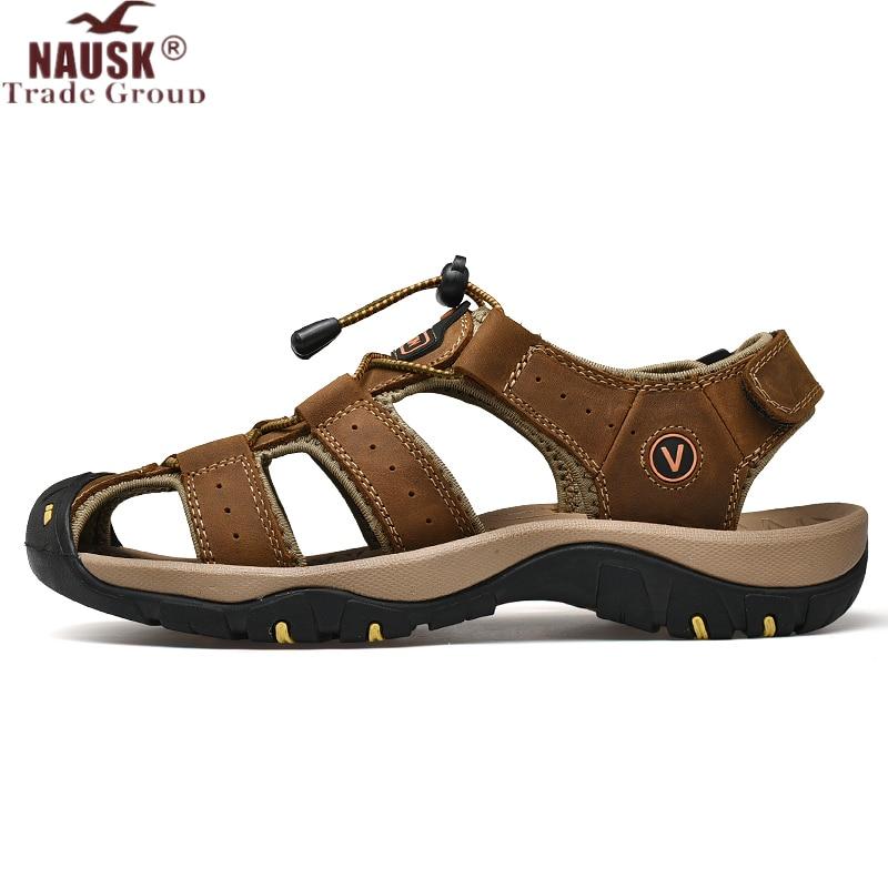 NAUSK nouveau mâle chaussures en cuir véritable hommes sandales été hommes chaussures plage sandales homme mode en plein air décontracté baskets taille 48