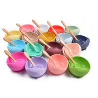 baby silicone bowl feedingtableware spoon fork waterproof suction bowl children tableware silicone plate set dishes kitchenware