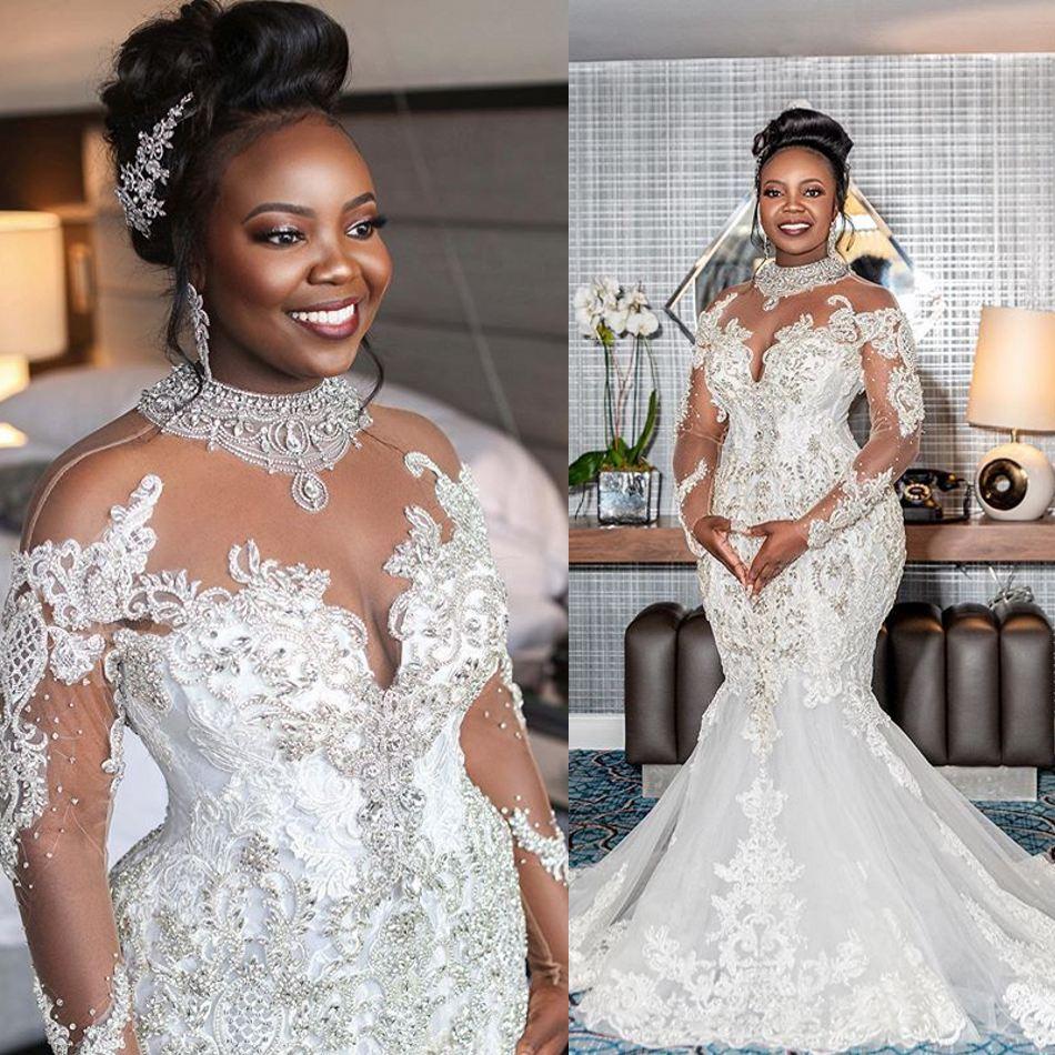 فستان زفاف مرصع بالكريستال ، مقاس كبير ، أكمام طويلة ، دانتيل ، لؤلؤ ، حورية البحر ، أنيق ، مجموعة 2020