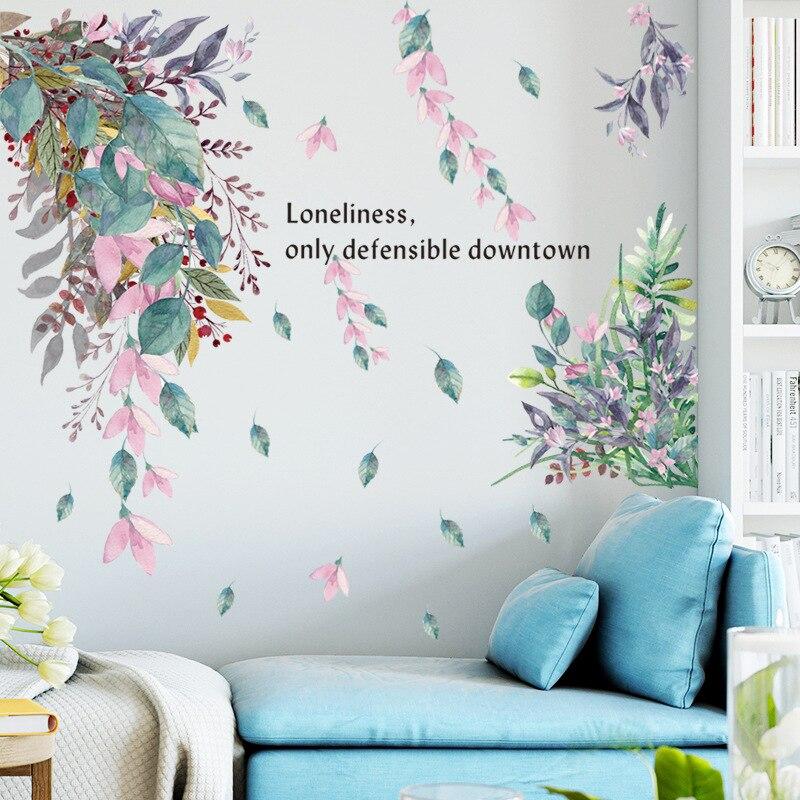 17 styles Green Leaves Wall Stickers for Bedroom Living room Dining room Kitchen Kids room DIY Vinyl Wall Decals Door Murals