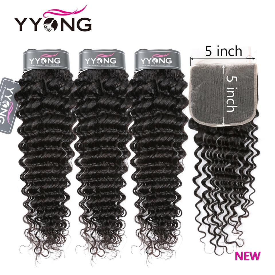 YYong-خيوط شعر ريمي طبيعية مع شعر الطفل ، خصلات جديدة من 14 إلى 30 بوصة مع شعر الطفل ، موجات عميقة 5X5