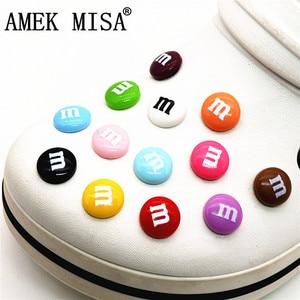 Simulation M Chocolate Beans Shoe Charms Decoration Realistic Rainbow Sugar Shoe Accessories fit croc jibz Kids Party X-mas Gift