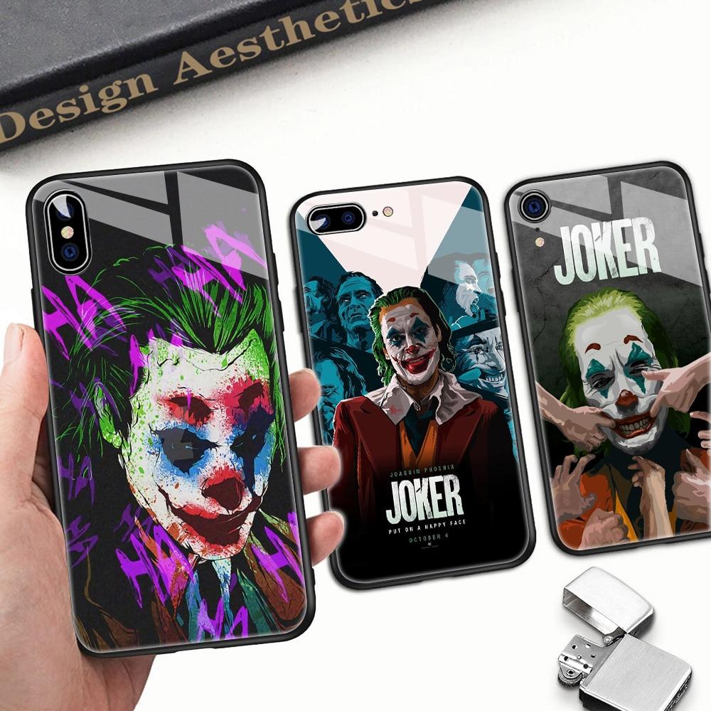 Funda de teléfono de cristal personalizada para Apple iphone 11 Pro Max XSMax XR XS X 6 7 8Plus 6s 5 5s SE, bonita funda con Payaso JOKER, divertida funda a prueba de golpes 9H