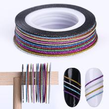 3D DIY NAIL Striping TAPE Lineชุดที่มีสีสันMatte Glitter Multi-สีกาวสติกเกอร์DIYเล็บออกแบบตกแต่ง
