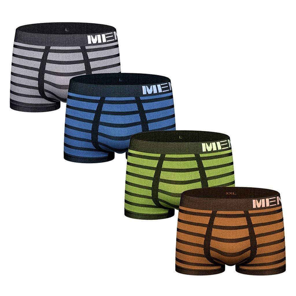 Boxershorts de rayas para hombres, Calzoncillos suaves, bragas, ropa interior Sexy, ropa interior para hombres, ropa interior para hombres, Calzoncillos