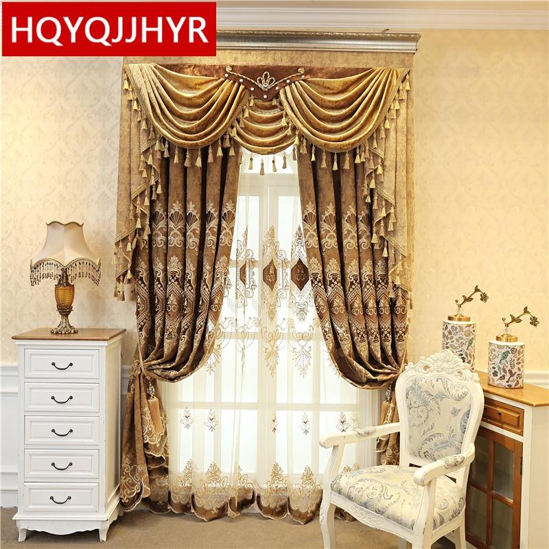 ستائر فيلا مطرزة على الطراز الأوروبي ، لنافذة غرفة النوم ، جودة عالية ، أنيقة ، بنية غير شفافة ، لغرفة المعيشة