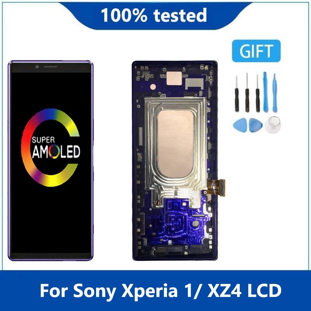 الأصلي AMOLED لسوني اريكسون 1 XZ4 LCD J8110 J8170 J9110 LCD عرض مع شاشة تعمل باللمس محول الأرقام الجمعية إصلاح أجزاء الإطار