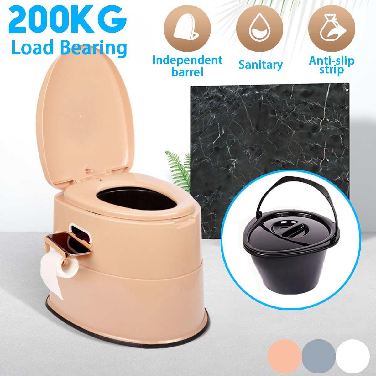 Taburete de inodoro portátil para ancianos, inodoro móvil para embarazadas o personas con discapacidad, orinal para ancianos, para viaje, Camping al aire libre