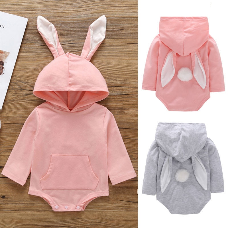 Spring Autumn Easter Summer Newborn Baby Kdis Girl Boy Hooded Rabbit Bodysuit Jumpsuit Casual Clothes Pink Gray Casual Outfits
