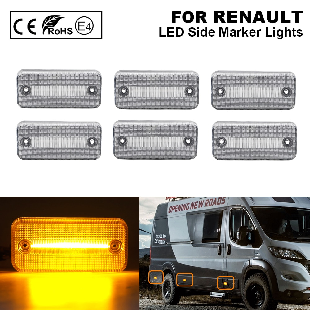 6pcs Clear LED Side Marker Light lamp for RENAULT VOLVO IRISBUS HEULIEZ DAF Fiat Ducato IVECO Daily Citroen Relay Peugeot Boxer