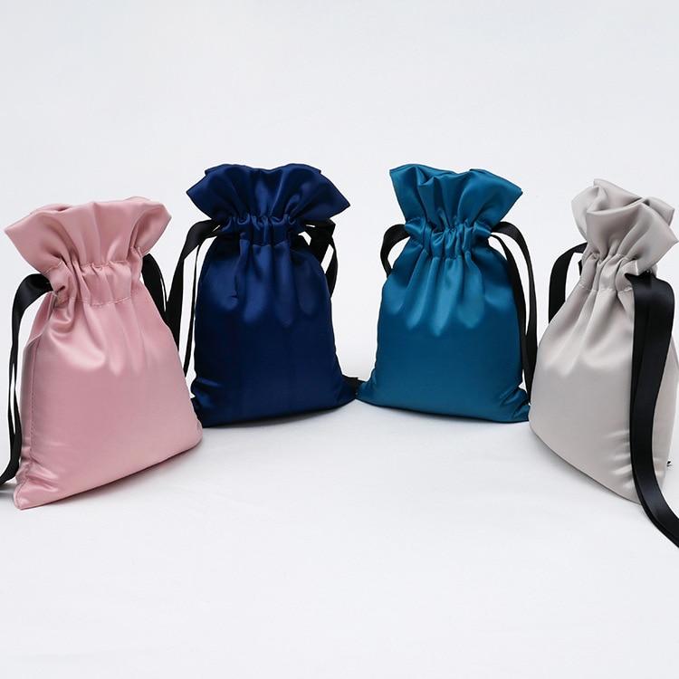 Bolsa de seda con cordón de moda, bolsa de embalaje de satén de lujo para dulces de boda, bolsa de cosméticos mediana portátil, bolsa para guardar joyas, bolsa de regalo