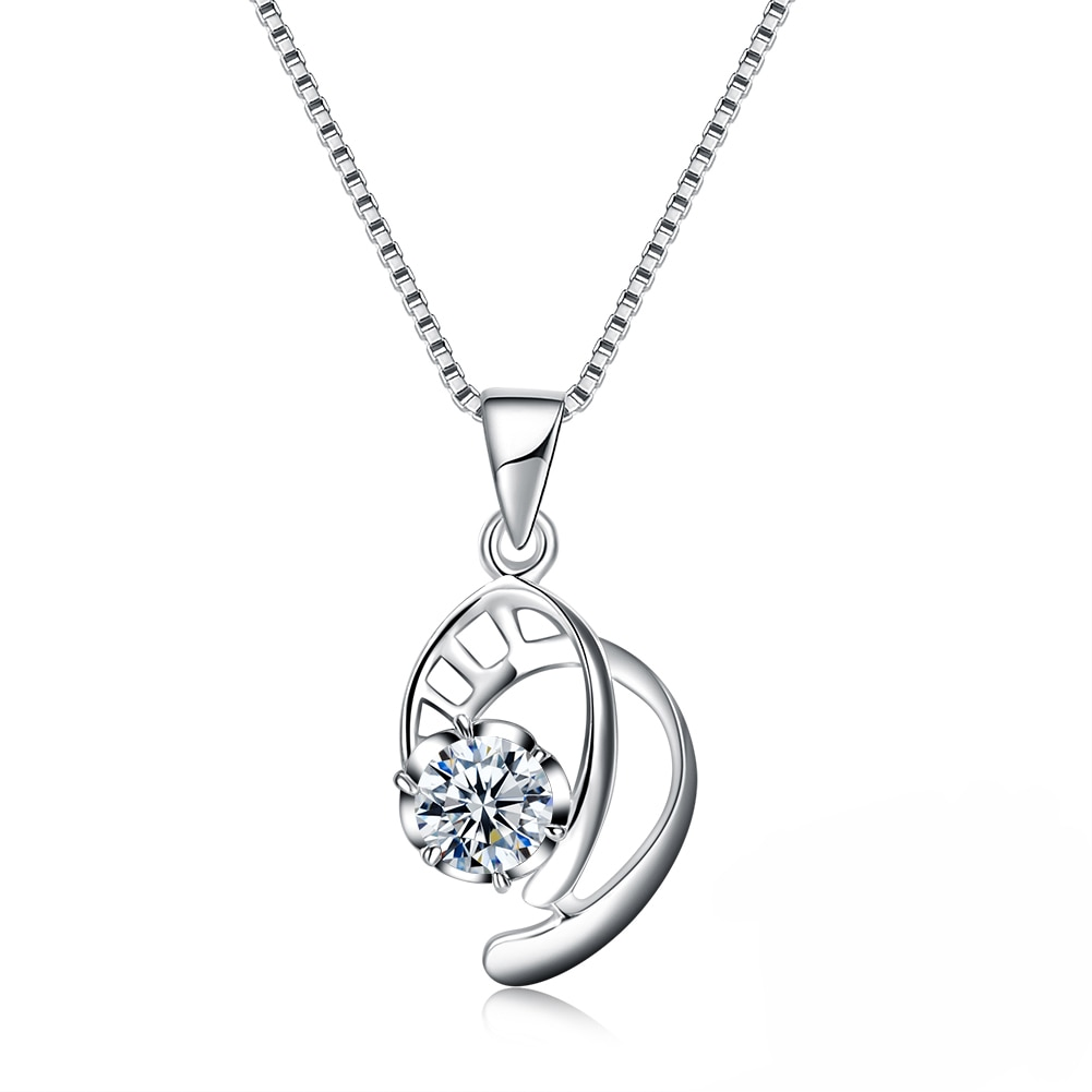 ZEMIOR 925 Sterling Silver Pendant Necklaces For Women Geometric Cubic Zirconia Necklace Anniversary Fine Jewelry New Arrival gnx0495 2015 new horizontal sideways cross women pendant necklace fashion 925 sterling silver necklaces for women