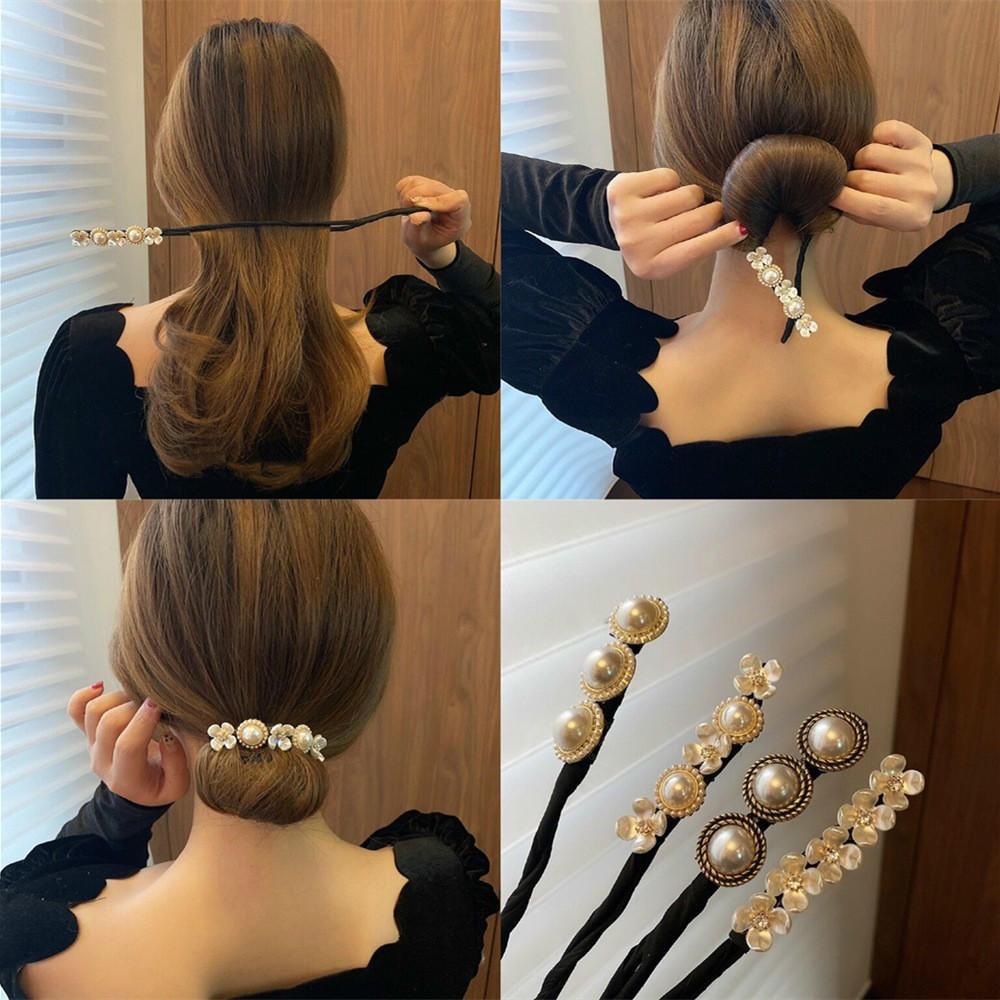 AliExpress - Vintage Shell Pearl Hairpin Bun Hairstyle Hair Stick Women Elegant Hair Scrunchies Flower Hair Maker Tools Hair Accessories