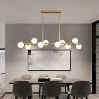 Потолочная люстра для столовой, горизонтальные подвесные светильники со стеклянными шариками, кухонная лампа для офиса, освещение для пере...