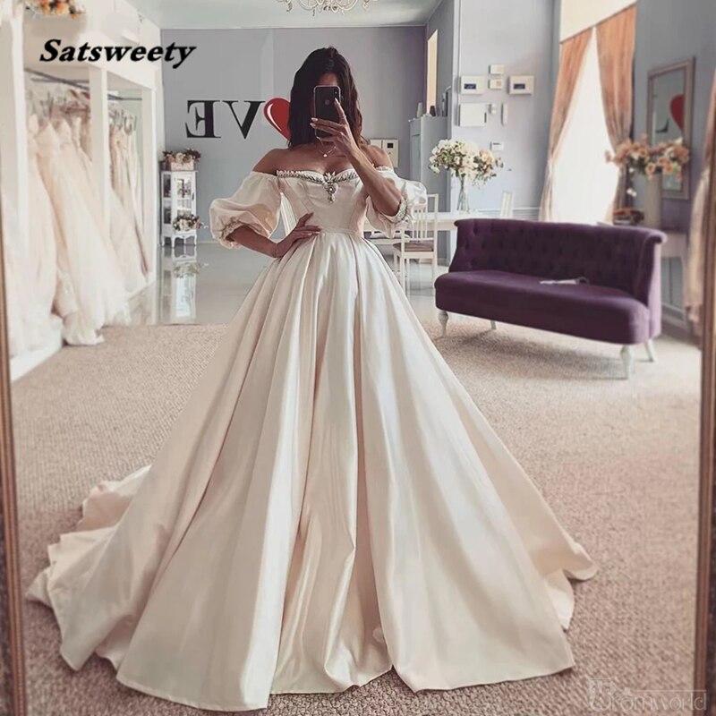 Vestido de novia Bohemia boda vestido novia el hombro satén vestido de...