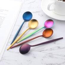 8Pcs/lot 18/0 Stainless Steel Gold Spoon Set Teaspoons Tablespoon Cutlery Tableware Mini Tea Coffee Spoons Small Dinner Spoon