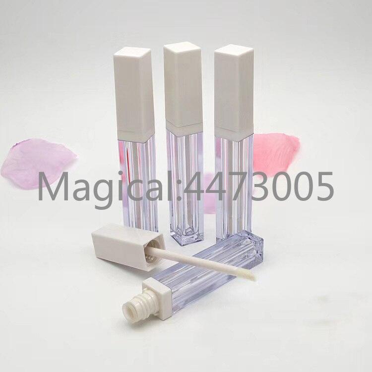 Garrafa recarregável do batom líquido cosmético do quadrado de diy, recipiente da pintura do bordo tubo plástico do brilho do bordo 4 ml com tampão branco, limpar vazio