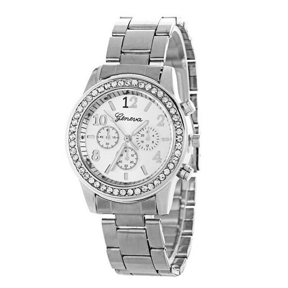 Nueva moda reloj de cuarzo de cristal para mujer, reloj de diamantes de tres ojos Geneva, correa de acero inoxidable de lujo, esfera redonda, reloj