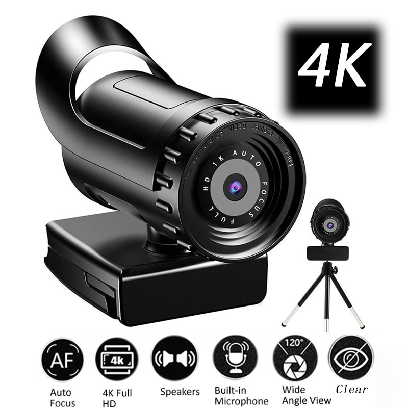 Webcam 4K 2K Auto Focus PC Web Cam Full HD 1080P Wide Angle Beauty Camera with Microphone For Live Streaming Video Conference spedal 120° wide angle webcam full hd 1080p with tripod usb camera video conference for computer mac pc