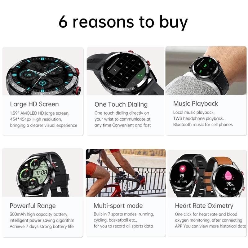 New 454*454 Screen Smart Watch Men's Always Display The Time Bluetooth Call watch Local Music Smartwatch For Huawei Xiaomi Phone