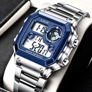 Electronic Watch Men Sport Waterproof Date Alarm Wristwatch 2021 LIGE New Fashion Mens Watches Top Brand Luxury Chronograph+Box
