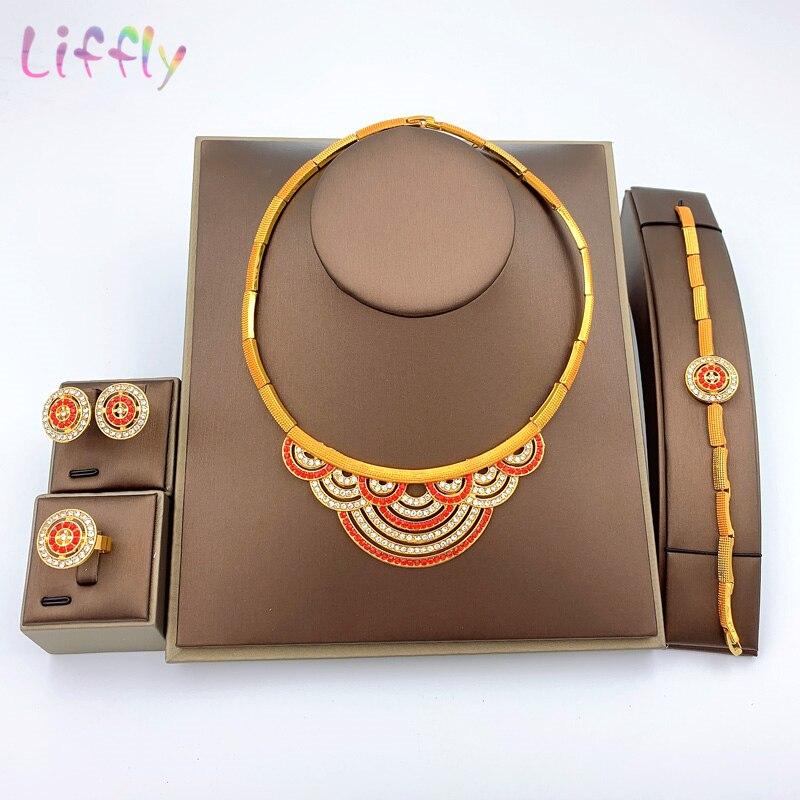 Conjunto de joias de contas africanas para casamento, atacado dubai, africano, colar de ouro, pulseira, brincos, anéis, nigerian, indianmulheres, joias