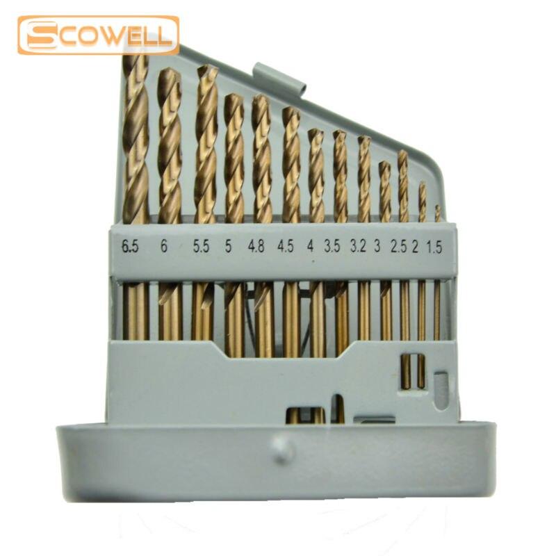 30% de descuento en broca de acero inoxidable, 1,5mm a 6,5mm, 13 Uds., número de suministros DIY, broca de tungsteno Hco M35 cobalto 5% Din338