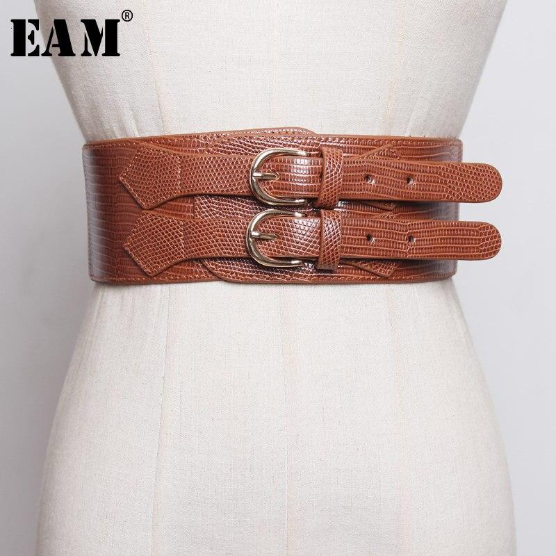 [EAM] cuero Pu doble hebilla Split cinturón ancho elástico personalidad mujeres nueva moda tendencia All-match primavera otoño 2020 1H974