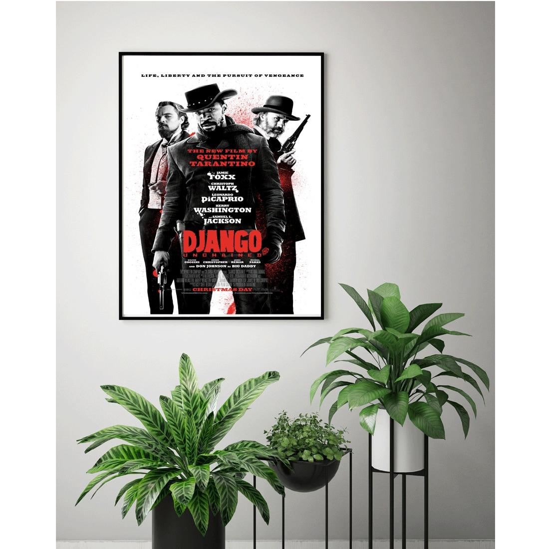 M099 nueva película caliente Django desencadenado clave película Póster Artístico de lienzo pintura Impresión de pared fotos personalizado 24x36 27x40in decoración del hogar