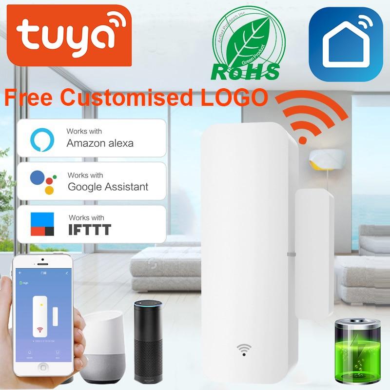 Sensor de ventana de puerta inteligente con WiFi, detector de puerta abierta/cerrada, alarma de seguridad Compatible con la aplicación para hogares Alexa y Google