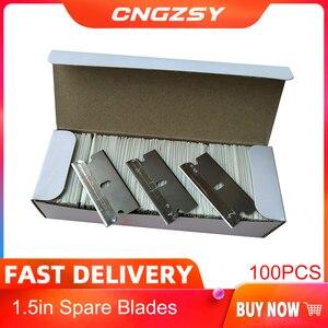 Image 1 - CNGZSY 100 шт. металлические лезвия, безопасная бритва, скребок, клей нож, очиститель стекла, сменные лезвия из углеродистой стали, автомобильные аксессуары E13