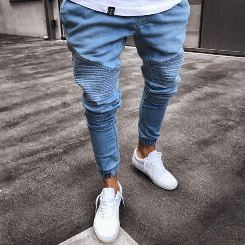 Зауженные джинсы с высокой талией, мужские черные повседневные уличные брюки, брюки с эластичным поясом, облегающие мужские модные джинсов...
