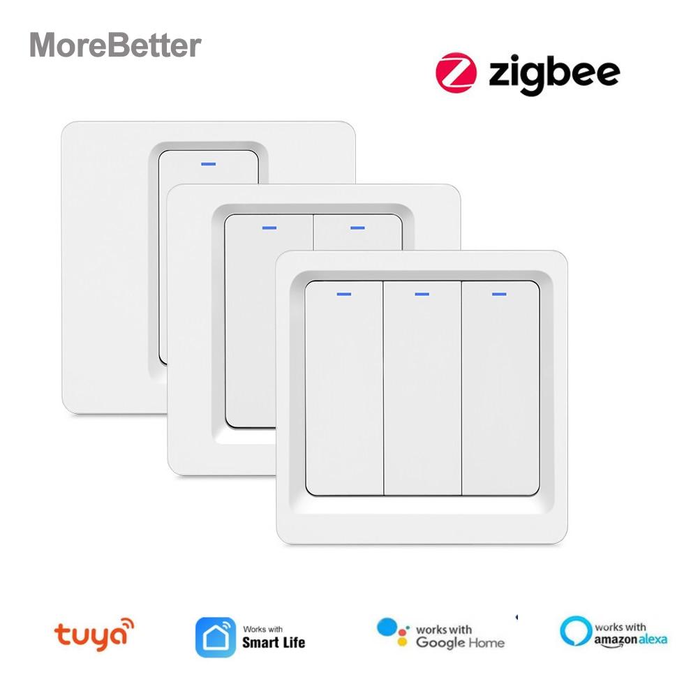 Tuya Zigbee אינטליגנטי קיר לדחוף מתג חכם אלחוטי בית חכם מתג לא ניטרלי חוט הנדרש באמצעות חכם חיים אפליקציה צריך רכזת