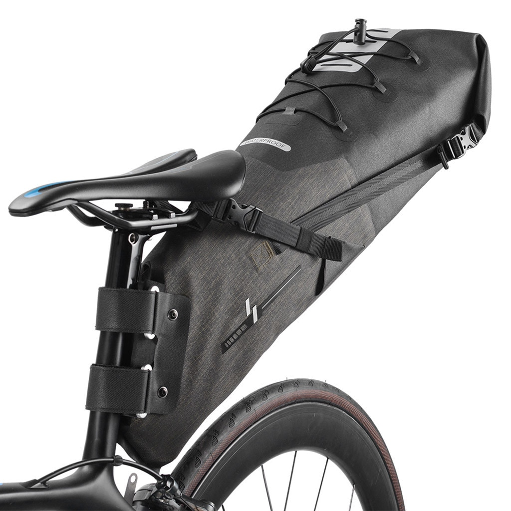 Bolsa de sillín de bicicleta bolsa de sillín de asiento de bicicleta bolsa de sillín de bicicleta correa trasera bolsa grande nueva impermeable 12L