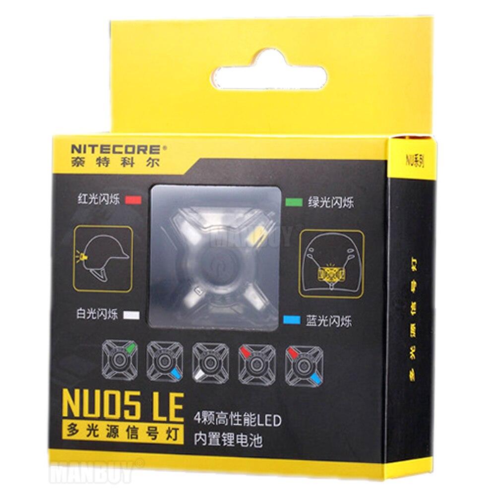 Nitecore NU05 LE rojo verde azul blanco 4x LEDs batería de iones de litio recargable cable USB Mini Faro de señal para deportes al aire libre