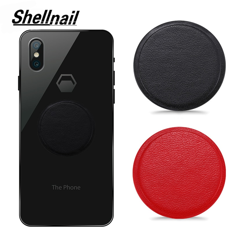 SHELLNAIL PU Leather Metal Plate For Magnetic Car Phone Holder Magnet Phone Stand GPS Holder Accesso