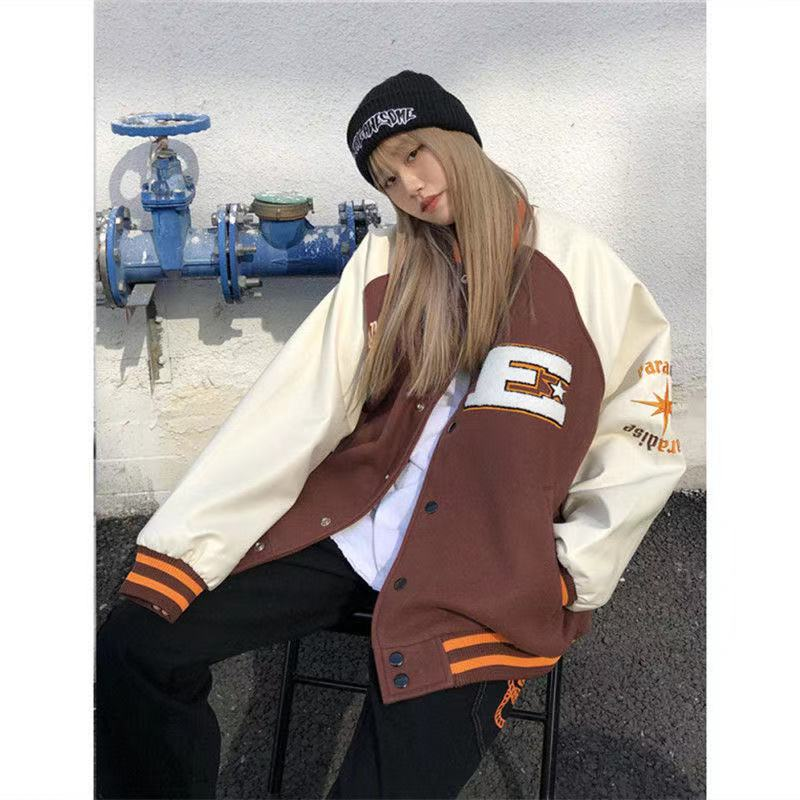 2021 New Unisex All-match Baseball Jacket Bomber Jacket Hip-hop Furry Bone Color Block Color Block J