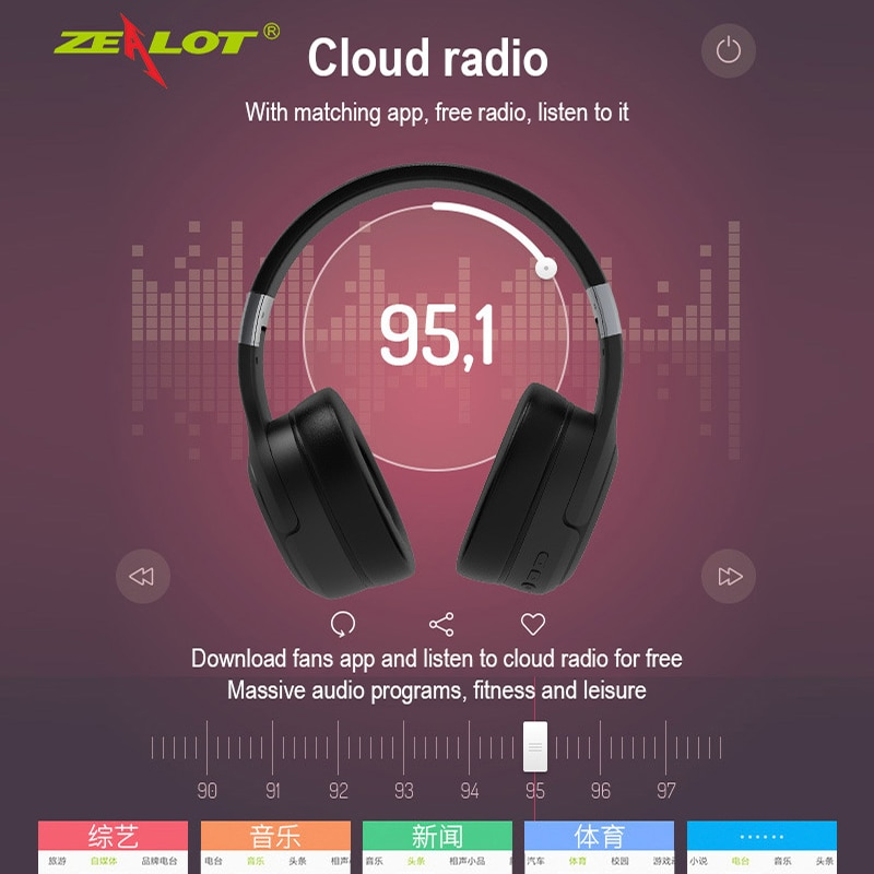 US Captain Zealot B28 Wireless Bluetooth 5.0 Headset Over-Ear Folding Headphone with Microphone enlarge